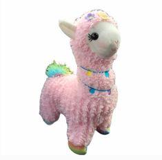 Way To Celebrate Llama Easter Plush Stuffed Animal Pink Rainbow Flowers 12 in. #WayToCelebrate