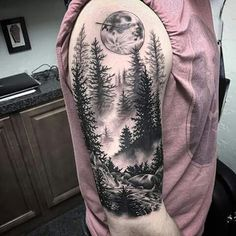 The trees and the moon, came out beautifully forest tattoo sleeve, forest tattoos, Forest Tattoo Sleeve, Wolf Tattoo Sleeve, Cool Half Sleeve Tattoos, Full Sleeve Tattoo Design, Forest Tattoos, Tattoo Wolf, Dark Forest Tattoo, Black And Grey Tattoos Sleeve, Nature Tattoo Sleeve