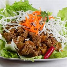 Asian Lettuce Wraps - make with 1 cup dry lentils, cooked, and add one tbsp red curry paste.