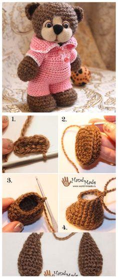 v ring amigurumi 2 p. Crochet Teddy, Crochet Bunny, Crochet Dolls, Amigurumi Doll, Amigurumi Patterns, Crochet Patterns, Knitting Patterns, Diy Baby Gifts, Crochet Bookmarks