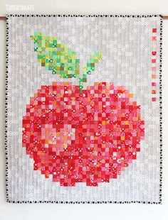 "= Free downloadable layout =  Big and Juicy pixelated apple quilt, (38"" x 48""), made with 1800 (1"") squares by Tamara Kate for Janome."