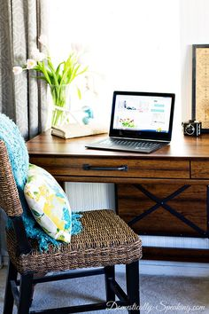 See how to create a beautiful workspace in a family room.  I used this beautiful, affordable desk from @sauderusa  #PutTogether #sponsored