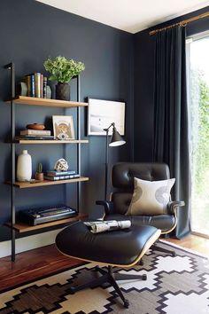 modern office shelving. Moody Mid Century Home Office - Emily Henderson Modern Shelving