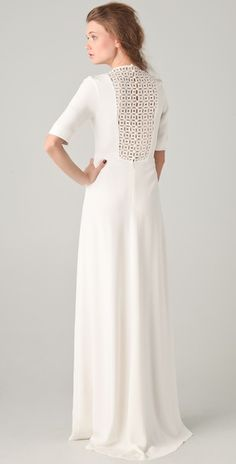 Derek Lam Gown with Embroidered Inset - perfect for a urban loft wedding!