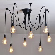 10 Light Cable Chandelier in black #40W #black #bulb-chandelier | Tudo & Co | 193 AUD