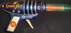 Old Vintage Friction Powered Space Jet Toy Gun from Japan 1950 Very RARE