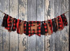 Shabby Rag Flag Fabric High Chair Banner - Little Lumberjack Photo Prop - Red Black Buffalo Plaid Birthday Party Cake Smash Decor Highchair by FreshForHim on Etsy https://www.etsy.com/listing/245841042/shabby-rag-flag-fabric-high-chair-banner