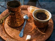 My much anticipated morning coffee, served in a long-stemmed pot, arrived on a round tray with an empty ceramic cup, a glass of water, and a small plate. Coffee Time, Morning Coffee, Coffee Coffee, Tea Time, Coffee Shop, Pottery Courses, Turkish Coffee Cups, Coffee Facts, Coffee Images