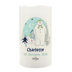 Personalised LED Candle - Snowman and Snowdog Christmas Lanterns, 1st Christmas, Christmas Themes, Christmas Gifts, Personalized Candles, Personalized Items, Snowman And The Snowdog, Character Words, Secret Santa Gifts