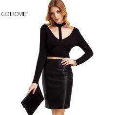 COLROVIE Womens Long Sleeve Tops Casual Women Famous Brand Women Crop Top Black Choker V Neck Cutout Crop T-shirt