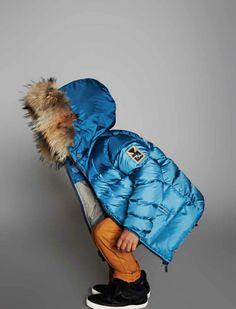 Shiny electric blue padded jacket by Fendi at Alex and Alexa for fall 2014 boyswear