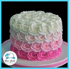 Buttercream Rosette Ombre Cake(Chocolate Glaze That Hardens) Pretty Cakes, Cute Cakes, Beautiful Cakes, Amazing Cakes, Sweet Cakes, Decors Pate A Sucre, Rodjendanske Torte, Rose Cake, Buttercream Cake