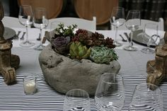 Faux rock planter from Joann's