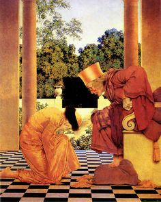 Lady Ursula kneeling before Pompdebile, by Maxfield Parrish, illustration to The Knave of Hearts