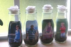 """Lines Across"": Glass Bottle Picture Frames"