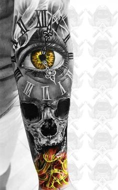 37 ideas for eye tattoo design clock – tattoo sleeve Tatto Skull, Skull Sleeve Tattoos, Skull Tattoo Design, Best Sleeve Tattoos, Tattoo Sleeve Designs, Tattoo Designs Men, Clock Tattoo Design Men, Sugar Skull Tattoos, Snake Tattoo