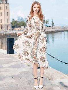 Black Maxi Dress Boho Chiffon V Neck Printed 3/4 Sleeve Women's Summer Long Dress