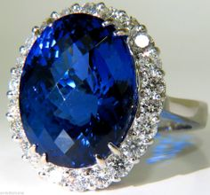 █$28,000 GIA BLUE 17.75CT NATURAL TANZANITE DIAMOND RING A+ D-BLOCK COLOR█ #Unbranded #Cocktail