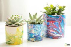 Marbled Flower Pots #nailpolish #marbled #flowerpots