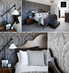 Charcoal & Grey Damask by Calgary Wallpaper Supplier & Installer. I could enjoy this in small doses.