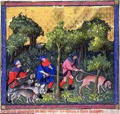 Miniature tirée du Livre de Chasse  de Gaston Phébus 1410 ca. _ Tracking by scent (http://www.encyclopedie-universelle.com/images/gaston-phebus-livre-de-chasse-fol55.jpg)