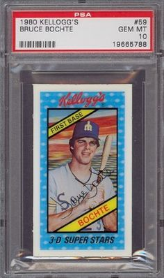 1980 Kellogg's #59 Bruce Bochte Mariners PSA 10 by Kellogg's. $12.25. 1980 Kellogg's #59 Bruce Bochte Mariners PSA 10. If multiple items appear in the image, the item you are purchasing is the one described in the title.
