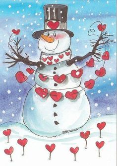Snowman in February Hearts Valentine's Day Snow