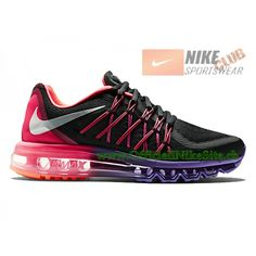 check out d0500 403bb Nike Air Max 2015 GS Chaussures de Running Pour Femme Noir Violet  698903-006,Nike Air Max 2015,Nike Air Max 2015 GS,Nike Air Max 2015 Femme,Nike  Air Max ...