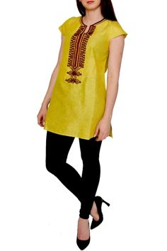 LOU from KAS. LOU is a yellow Tunic with embroidered details. Enjoy the amazing neckline and the opening in the back of LOU Tunic!