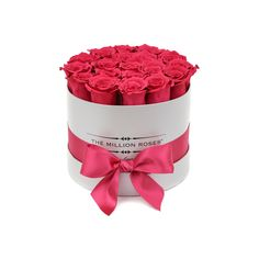 small round box - silver - hot-pink ETERNITY roses