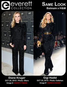 Diane Kruger at arrivals for Balmain X H&M Collection Launch, The Corner at 23 Wall Street, New York, NY October 20, 2015. Photo By: Andres Otero/Everett Collection *** Gigi Hadid on the runway for Balmain X H&M Collection Launch - Runway, The Corner at 23 Wall Street, New York, NY October 20, 2015. Photo By: Kristin Callahan/Everett Collection