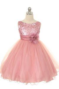 Flower Girl Dresses - Pink Dresses - Flower Girl Dresses Discount Cheap Designer Dressforless - KD305 - Dusty Rose Pink Sparkle Flower Girl Dress