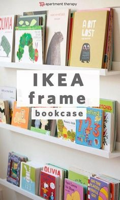 Using IKEA Picture Ledges as Bookshelves in a Nursery IKEA picture ledges as bookshelves - perfect for displaying board books in a kids room! Comparison of IKEA spice racks vs IKEA Ribba picture ledges. Ribba Picture Ledge, Picture Wall, Picture Ideas, Ikea Photo Frames, Ikea Frames, Nursery Bookshelf, Book Shelf For Nursery, Bookshelves For Kids Room, Book Wall Shelf