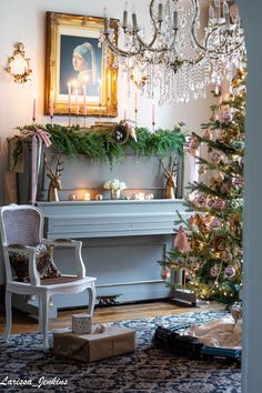 """The back parlor is ready for Christmas. Candlelight is aglow on the antique """"Jenkins"""" piano. A gorgeous faux cedar garla. French Christmas Decor, Country Christmas Decorations, Cottage Christmas, Christmas Home, Christmas Ideas, Merry Christmas, Xmas, French Country Cottage, French Country Style"""