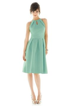 Short mint bridesmaid dress with a halter neck by Alfred Sung