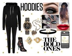 """""""Cozy Hoodies"""" by fashion-1993 on Polyvore featuring Paige Denim, Betsey Johnson, Versace, Charlotte Russe, ASAP, Casetify, blackandgold, black and Hoodies"""