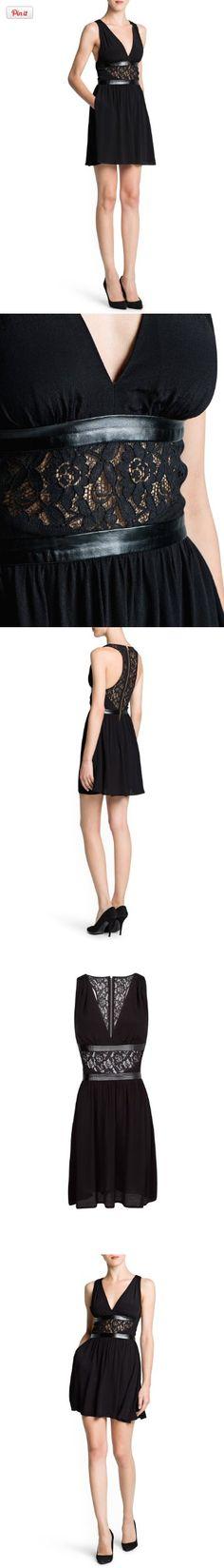 12202516a9689f Mango Women s Lace Appliqué Flowy Dress