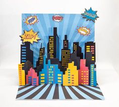3D Super Hero City Scape Backdrop Centerpiece