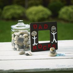 easy father's day craft liked the rocks piled up with Dad Rocks on it or You rock if giving to someone else. Plan to use this with kids at church