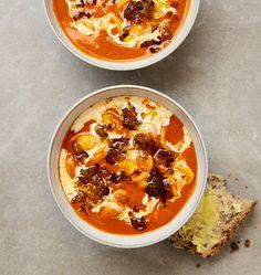 Yotam Ottolenghi's recipes for tomato soup three ways | Food | The Guardian Meze Recipes, Tomato Soup Recipes, Lentil Recipes, Salad Recipes, Greek Recipes, Ottolenghi Recipes, Yotam Ottolenghi, Veggie Loaf, Cream Of Tomato Soup