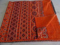 Handmade Kantha Quilt, Indian Cotton Kantha Bedspread Bedding Quilt Kantha 005 #Handmade