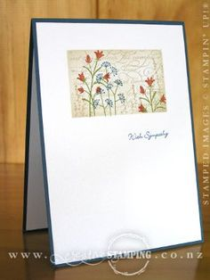 Simple but lovely card!!!  Looks like the clear block with used as a background stamp!  (Cajun Craze and Marina Mist - good color combo)