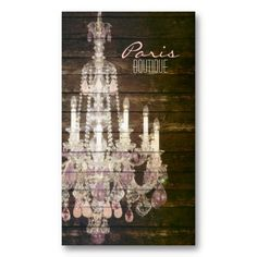 vintage barnwood purple chandelier paris fashion business card template