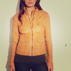 Lucky Brand Downtown Traveler tan leather jacket Size: Small. Worn only once! Just like new! 4 front pockets, zippers on both sleeves. Lucky Brand Jackets & Coats