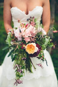 Stunning Textured Bridal Bouquet | Ely Brothers Photography | www.theknot.com
