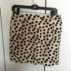 """J. Crew polka dot skirt Great condition polka dot mini. Not too long, not too short! Last photo shows a pulled string I noticed on inspection. 16-17"""" length. J. Crew Skirts Mini"""