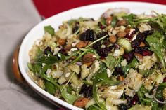 Cauliflower and Cous-Cous Salad: My Market Kitchen *Use cooked or sprouted quinoa/buckwheat/rice instead of cous cous. Substitute agave/rice malt syrup for honey Cauliflower Couscous, Market Garden, Couscous Salad, Buckwheat, Syrup, Dressings, Vegetarian Recipes, Salads, Salad