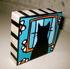 Black Cat in the Window 4x4 Art Block Painting by AnnesArtBlocks, $32.00