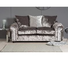 Crushed Velvet Grey Sofa