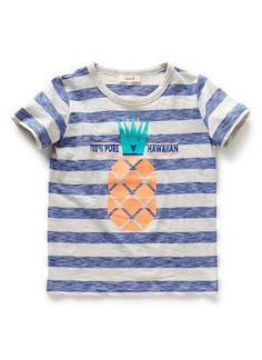100% Cotton Jersey stripe tee with pineapple graphic on front